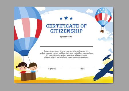 Kindergarten certificate of citizenship Illustration
