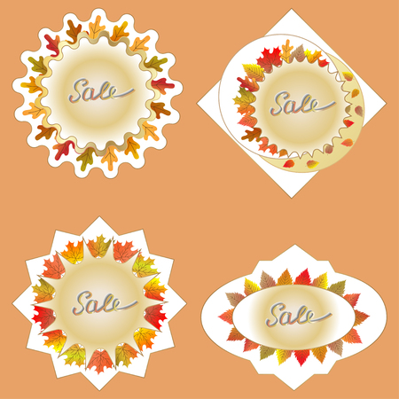 Stickers for sale in autumn. Illustration