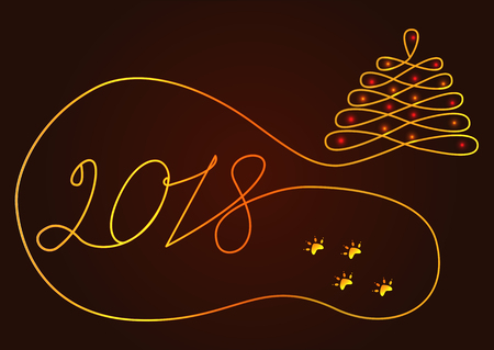 Abstract New Year background drawn by one line