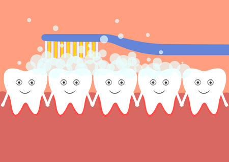 Tooth care in the oral cavity Stock Illustratie