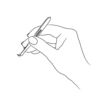 A female hand holds tweezers with an artificial eyelash Illustration