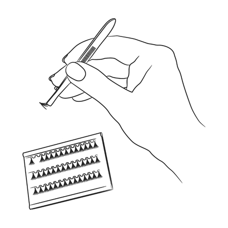 Female hand holds tweezers with artificial eyelash from the set  イラスト・ベクター素材