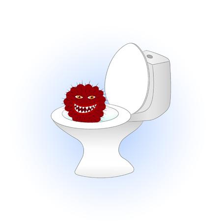 Cartoon red cactus sitting in the toilet illustration. 일러스트