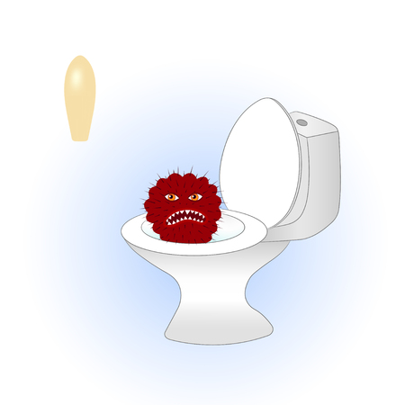 Cartoon red cactus sitting in the toilet is afraid of treatment.