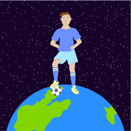 A football player with a ball is standing on a globe.