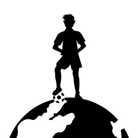 Football player with ball standing on globe against white background. Ilustração
