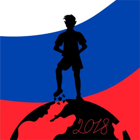 Silhouette a football player with a ball standing on the globe Ilustração