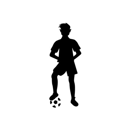 Silhouette of soccer player with a ball on a white background Stok Fotoğraf