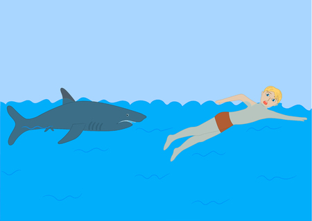 Shark. Dangers in the sea for man.