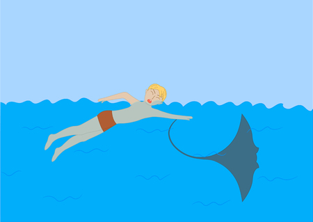 The stingray stung the teenager in the sea