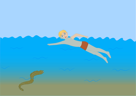 Insidious moray eels follow swimmer