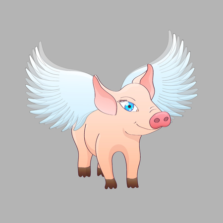 Piglet with wings isolated on gray background. Vector illustration