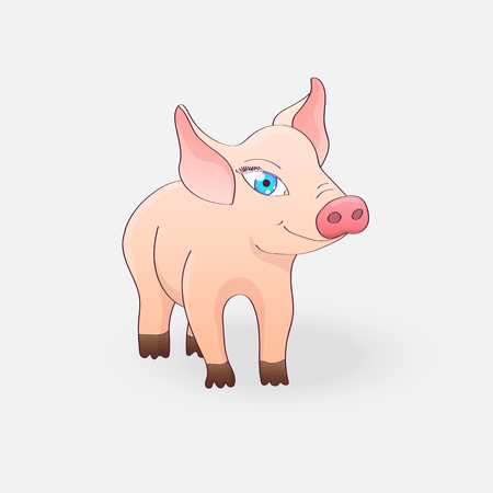 Funny pig isolated on a light gray background. Vector illustration