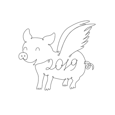 Piglet symbol of 2019 drawn by one line. Vector Çizim