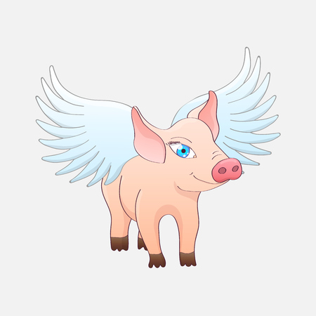 Funny pig with wings isolated on a gray background. Vector illustration