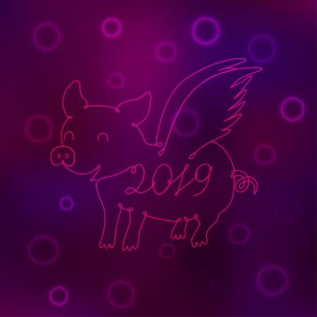 Piglet symbol of 2019 drawn by one line. Vector illustration Çizim