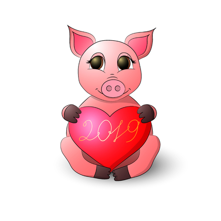 A funny pig holds a heart with the inscription 2019