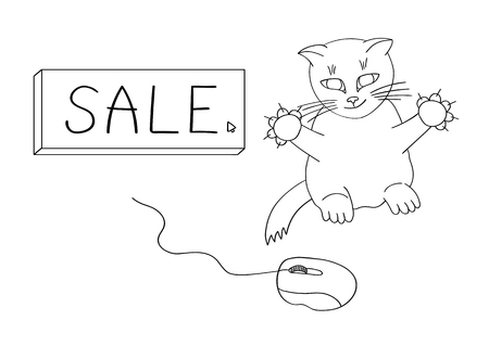 The cat hunts for a computer mouse to get on sales. Vector illustration Çizim