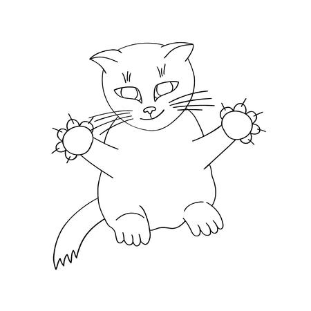 Cartoon cat with raised paws isolated on white background. Vector illustration Çizim