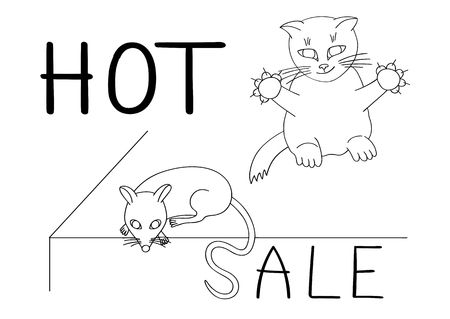 Smart cat will not miss its chance to catch the mouse by the tail on a hot sale. Vector illustration Çizim