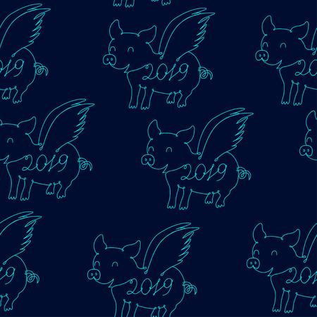 Pig symbol of 2019, seamless pattern Vector Çizim