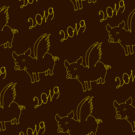 Pig symbol of 2019 year, seamless pattern. Vector