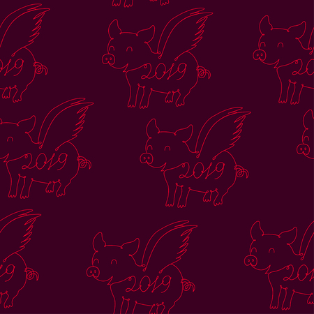 Pig symbol of 2019, seamless pattern Vector Çizim