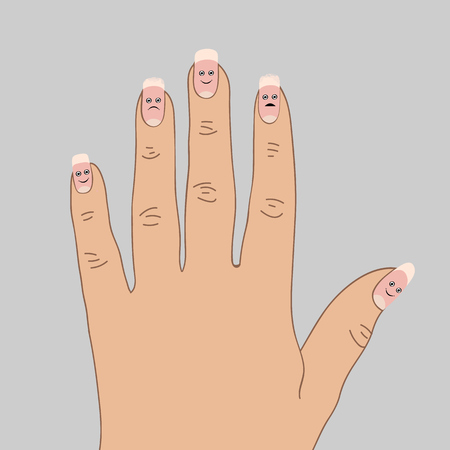 Exfoliating the tips of the nails. Cartoon vector illustration