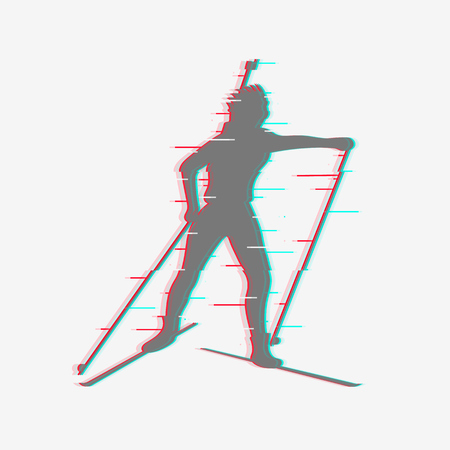 Biathlete runs the distance. Icon is isolated, made with glitch effect.
