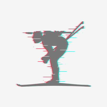Biathlete runs sprint. Isolated icon with glitch effect