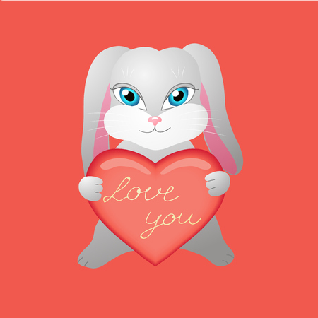 Bunny in love holds a heart with the inscription. Vector illustration