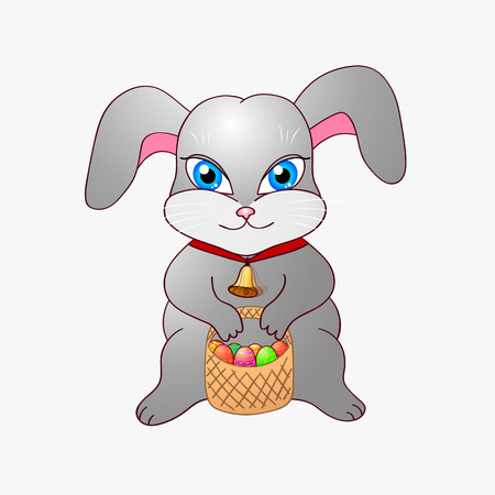Cute easter bunny isolated on white background. Vector illustration