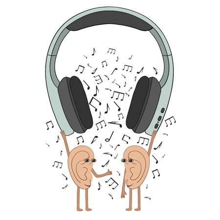 Funny human ears listen to your favorite music from headphones. Isolated vector illustration