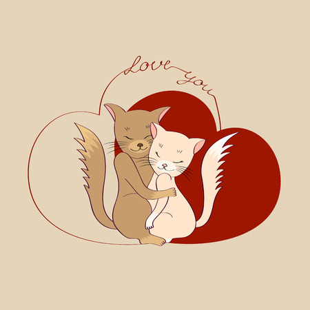 Cats in love hug each other. Postcard. Vector illustration