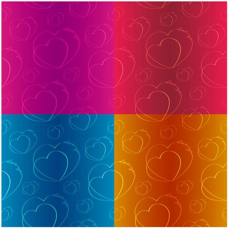 Hearts with an inscription made by one line. Set of vector seamless textures Çizim