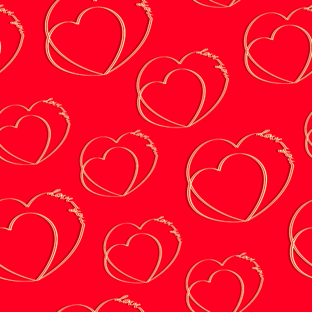 Hearts with an inscription love you on a red background. Seamless pattern