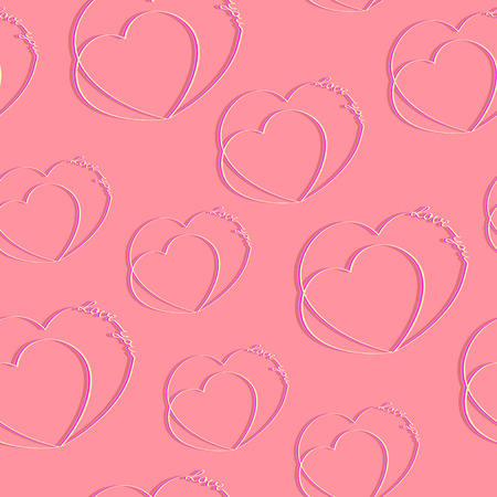 Hearts with the words love you. Vector seamless pattern Çizim