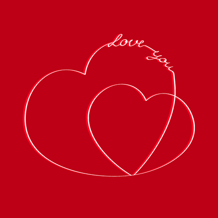 Hearts with an inscription love you. Postcard Çizim