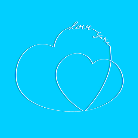 Hearts with an inscription love you. Greeting card Çizim