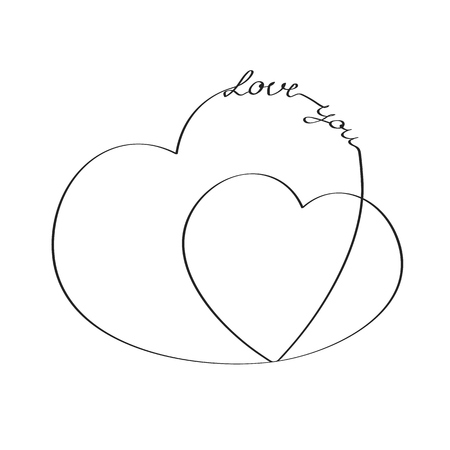 Hearts with an inscription love you. Vector sketch Çizim