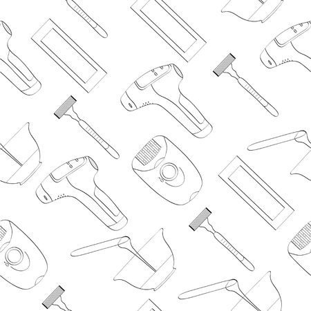 Means for removing unwanted hair. Seamless pattern, vector