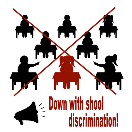 Call against discrimination at school. Vector illustration on white background Ilustracja