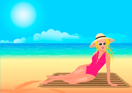 The girl in the hat sunbathes on the rug. Vector illustration