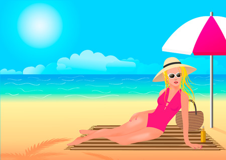 The girl takes care of her skin and hides under an umbrella. Vector illustration Çizim