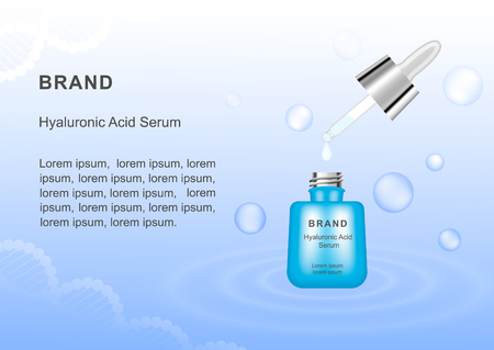 Serum with hyaluronic acid. Template for advertising your product. Vector