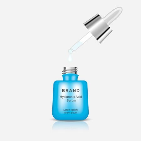 A bottle of serum hyaluronic acid isolated on a gray background. Vector