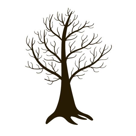Samotne drzewo zima na białym tle. Wektor
