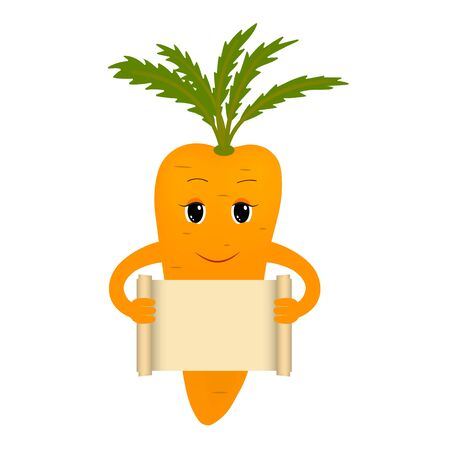 Cartoon carrot isolated on white background holding papyrus. Vector Çizim
