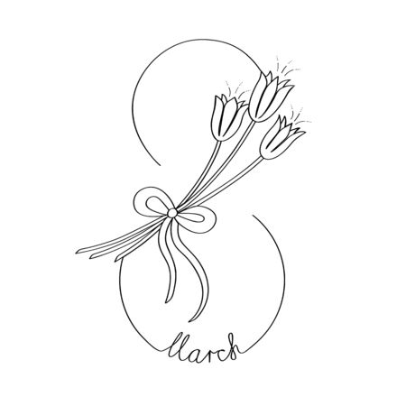 Snowdrops inscribed in figure eight with the inscription are drawn in one line. Isolated vector stock illustration. Иллюстрация