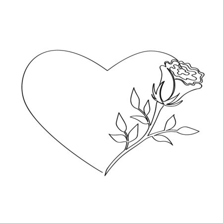 Rose inscribed in a heart isolated on a white background. Vector stock illustration. Drawn in one continuous line. Sketch for your projects.